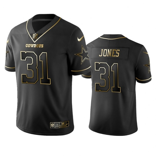 Nike Cowboys #31 Byron Jones Black Golden Limited Edition Stitched NFL Jersey