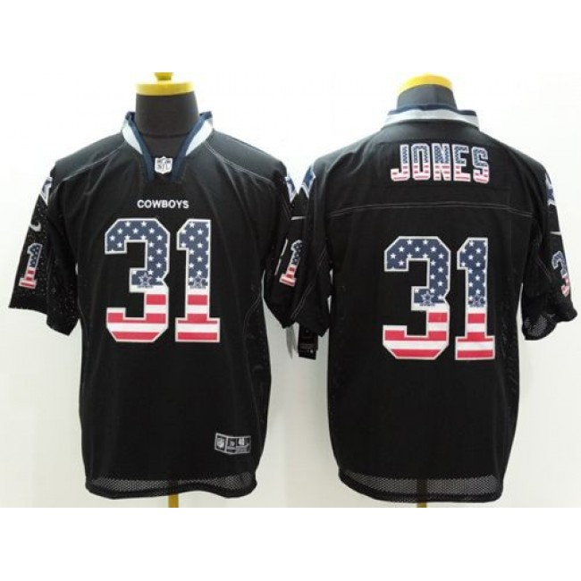 Nike Cowboys #31 Byron Jones Black Men's Stitched NFL Elite USA Flag Fashion Jersey