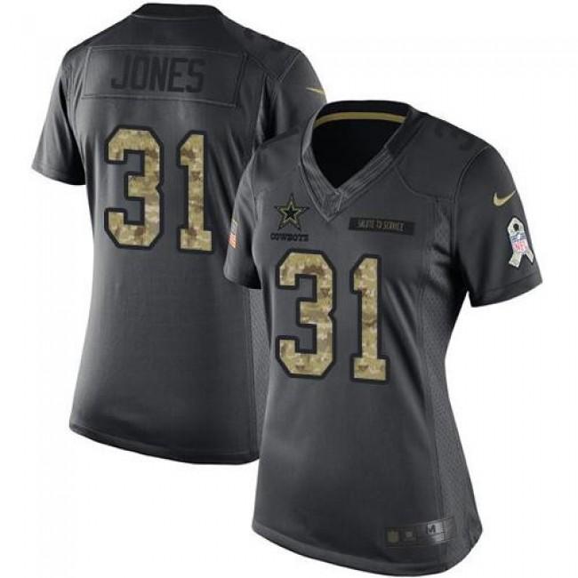 Women's Cowboys #31 Byron Jones Black Stitched NFL Limited 2016 Salute to Service Jersey