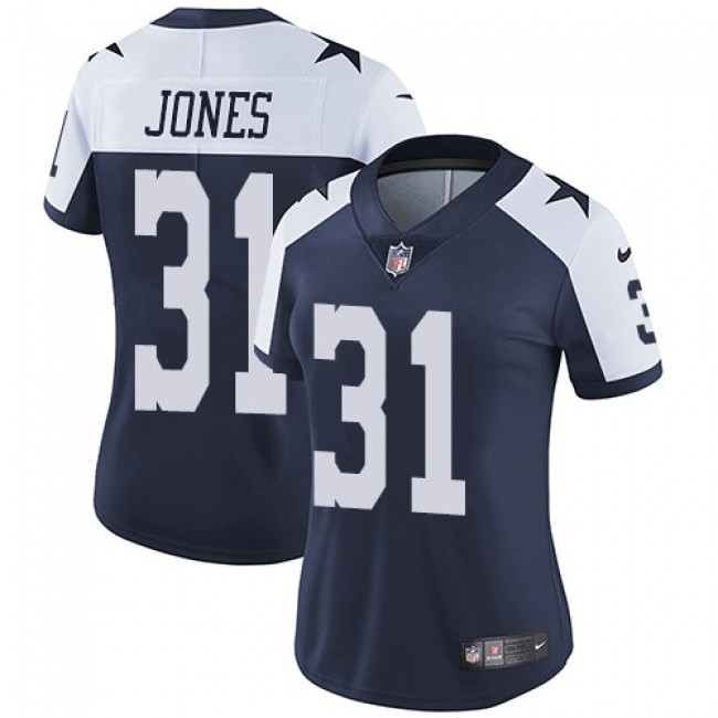 Women's Cowboys #31 Byron Jones Navy Blue Thanksgiving Stitched NFL Vapor Untouchable Limited Throwback Jersey
