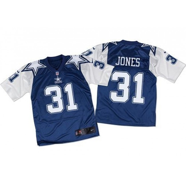 Nike Cowboys #31 Byron Jones Navy Blue/White Throwback Men's Stitched NFL Elite Jersey