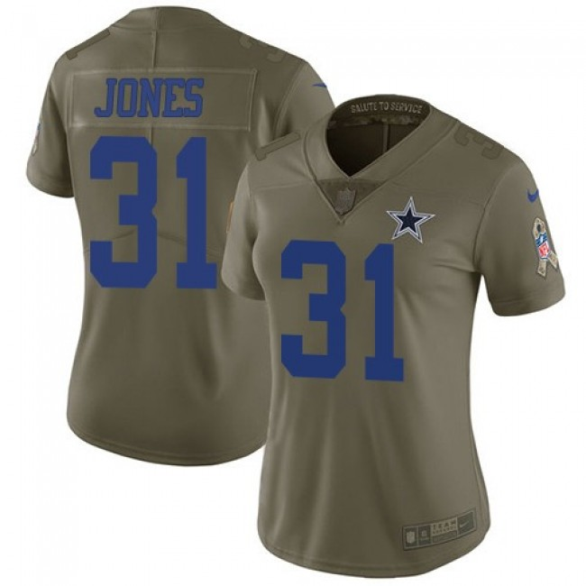 Women's Cowboys #31 Byron Jones Olive Stitched NFL Limited 2017 Salute to Service Jersey