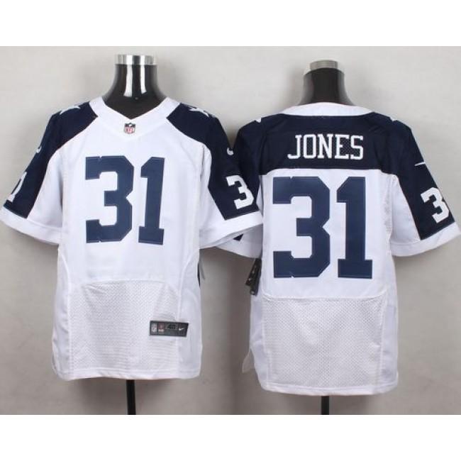 Nike Cowboys #31 Byron Jones White Thanksgiving Throwback Men's Stitched NFL Elite Jersey