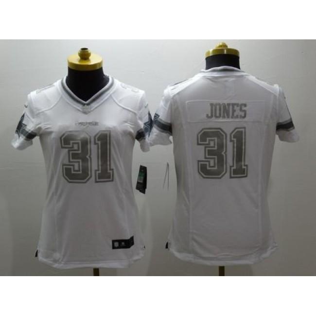 Women's Cowboys #31 Byron Jones White Stitched NFL Limited Platinum Jersey