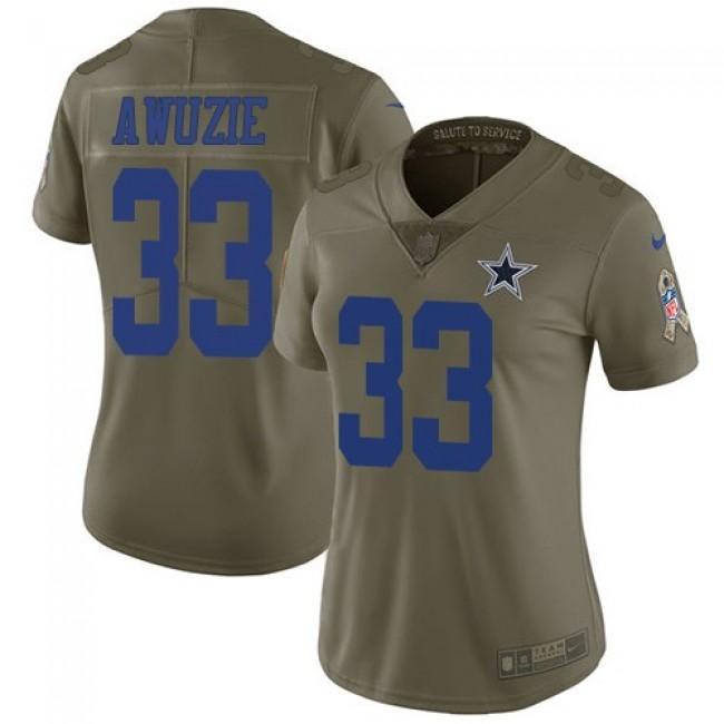 Women's Cowboys #33 Chidobe Awuzie Pink Stitched NFL Limited Rush Jersey