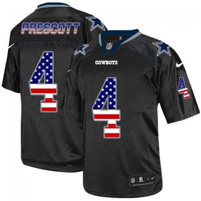 Nike Cowboys #4 Dak Prescott Black Men's Stitched NFL Elite USA Flag Fashion Jersey