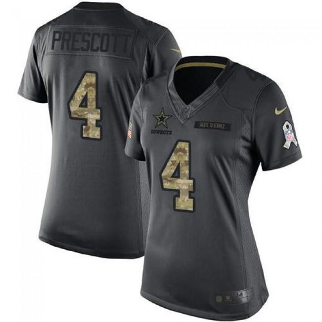 Women's Cowboys #4 Dak Prescott Black Stitched NFL Limited 2016 Salute to Service Jersey