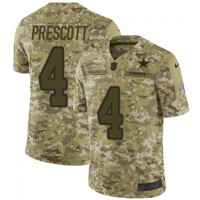 Nike Cowboys #4 Dak Prescott Camo Men's Stitched NFL Limited 2018 Salute To Service Jersey