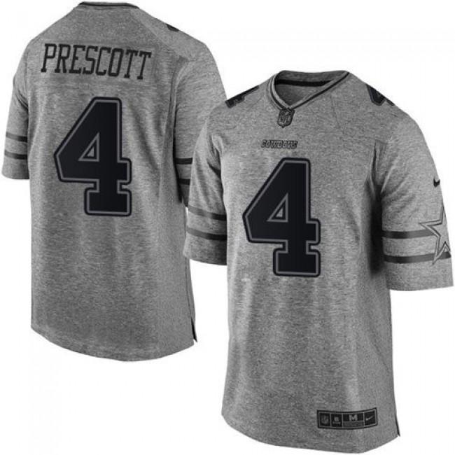Nike Cowboys #4 Dak Prescott Gray Men's Stitched NFL Limited Gridiron Gray Jersey