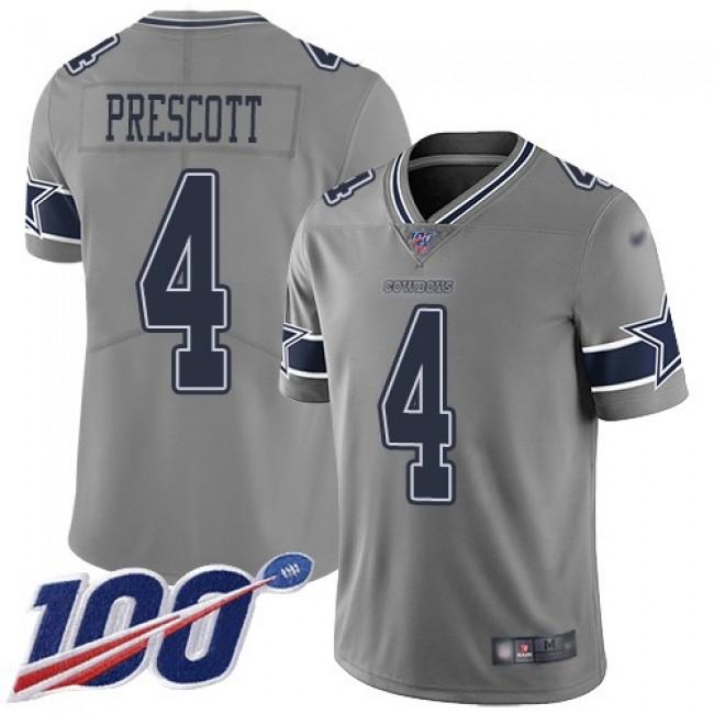 Nike Cowboys #4 Dak Prescott Gray Men's Stitched NFL Limited Inverted Legend 100th Season Jersey