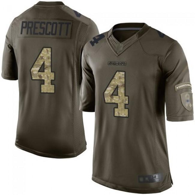 Nike Cowboys #4 Dak Prescott Green Men's Stitched NFL Limited 2015 Salute to Service Jersey