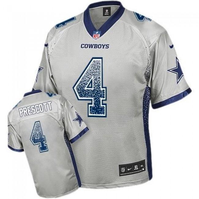 Nike Cowboys #4 Dak Prescott Grey Men's Stitched NFL Elite Drift Fashion Jersey