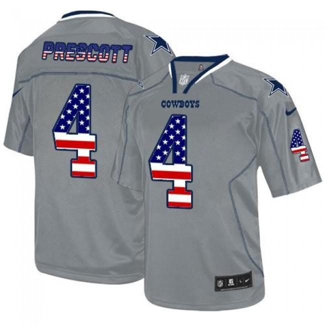 Nike Cowboys #4 Dak Prescott Grey Men's Stitched NFL Elite USA Flag Fashion Jersey