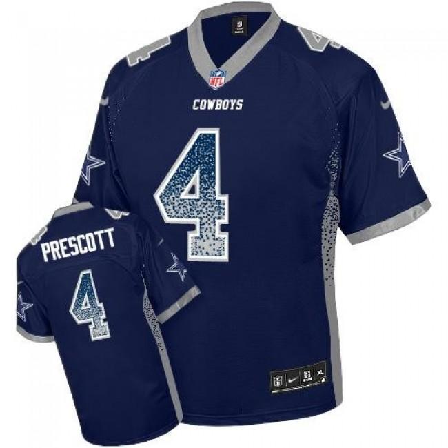 Nike Cowboys #4 Dak Prescott Navy Blue Team Color Men's Stitched NFL Elite Drift Fashion Jersey