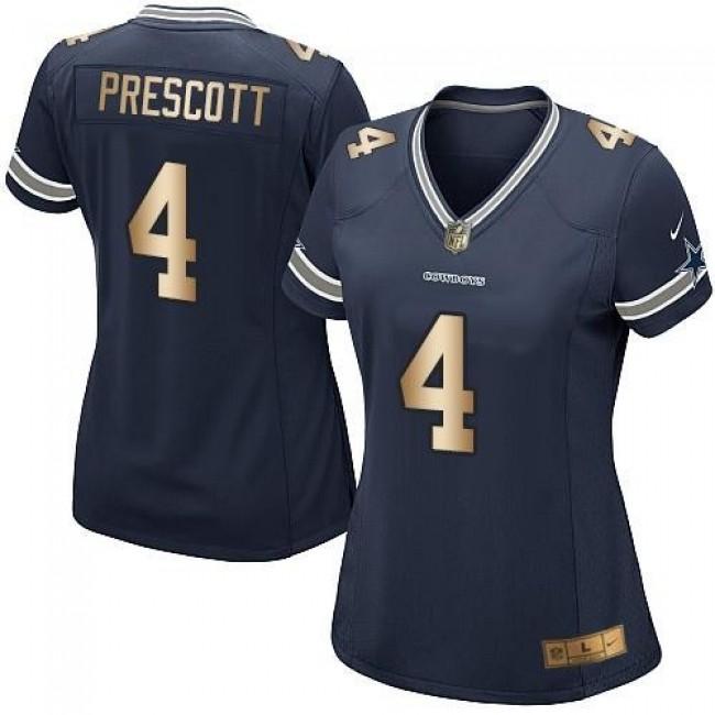 Women's Cowboys #4 Dak Prescott Navy Blue Team Color Stitched NFL Elite Gold Jersey