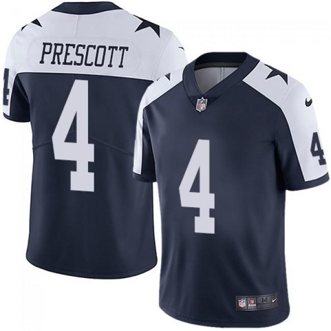 Nike Cowboys #4 Dak Prescott Navy Blue Thanksgiving Men's Stitched NFL Vapor Untouchable Limited Throwback Jersey