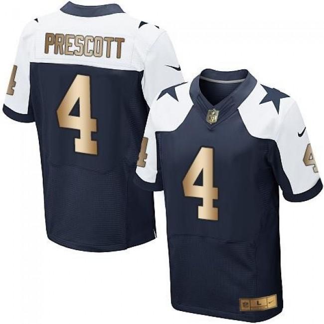 Nike Cowboys #4 Dak Prescott Navy Blue Thanksgiving Throwback Men's Stitched NFL Elite Gold Jersey