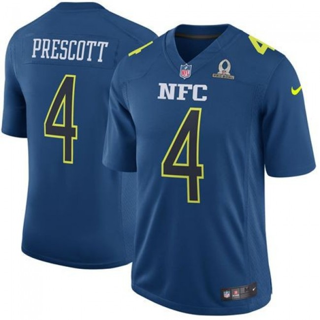 Nike Cowboys #4 Dak Prescott Navy Men's Stitched NFL Game NFC 2017 Pro Bowl Jersey