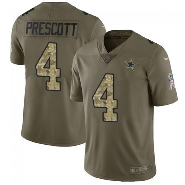 Dallas Cowboys #4 Dak Prescott Olive-Camo Youth Stitched NFL Limited 2017 Salute to Service Jersey