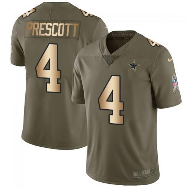 Nike Cowboys #4 Dak Prescott Olive/Gold Men's Stitched NFL Limited 2017 Salute To Service Jersey