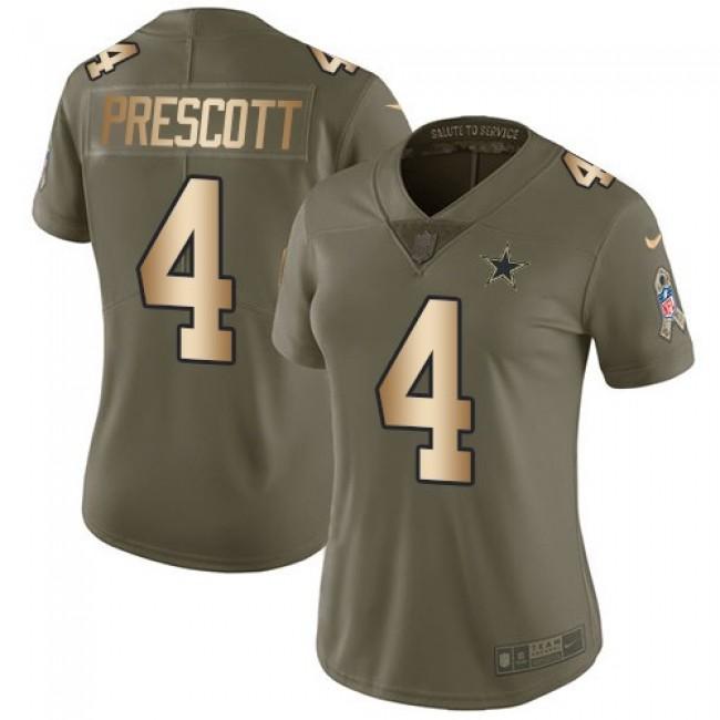 Women's Cowboys #4 Dak Prescott Olive Gold Stitched NFL Limited 2017 Salute to Service Jersey