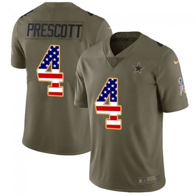 Dallas Cowboys #4 Dak Prescott Olive-USA Flag Youth Stitched NFL Limited 2017 Salute to Service Jersey