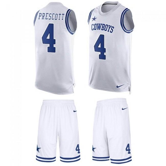 Nike Cowboys #4 Dak Prescott White Men's Stitched NFL Limited Tank Top Suit Jersey
