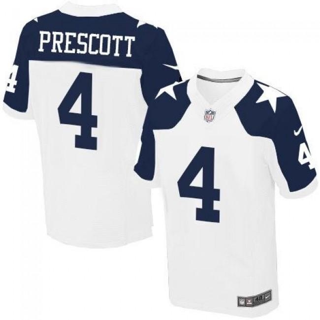 Nike Cowboys #4 Dak Prescott White Thanksgiving Throwback Men's Stitched NFL Elite Jersey