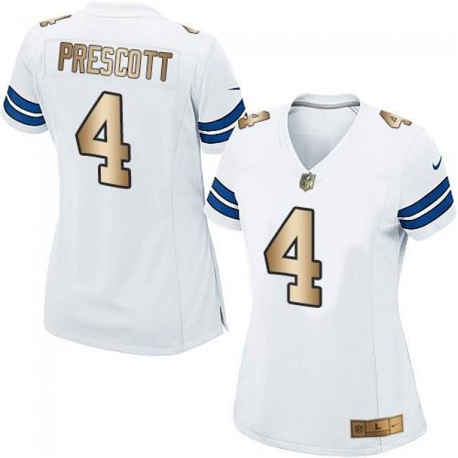 Women's Cowboys #4 Dak Prescott White Stitched NFL Elite Gold Jersey
