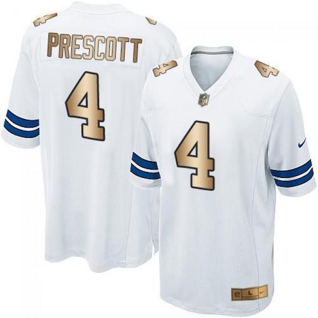 Dallas Cowboys #4 Dak Prescott White Youth Stitched NFL Elite Gold Jersey