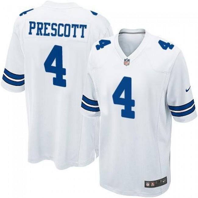 Dallas Cowboys #4 Dak Prescott White Youth Stitched NFL Elite Jersey