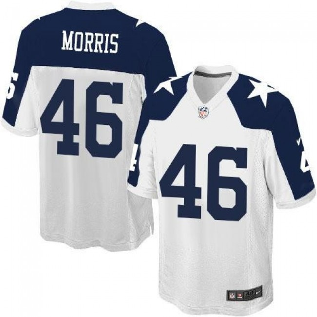 Dallas Cowboys #46 Alfred Morris White Thanksgiving Youth Stitched NFL Throwback Elite Jersey