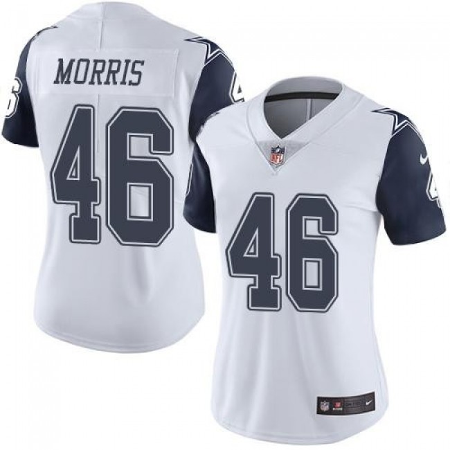 Women's Cowboys #46 Alfred Morris White Stitched NFL Limited Rush Jersey