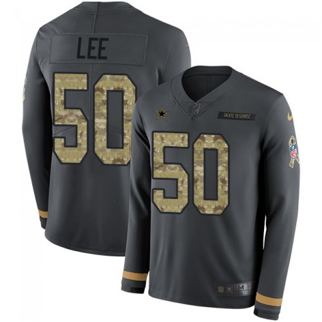 Nike Cowboys #50 Sean Lee Anthracite Salute to Service Men's Stitched NFL Limited Therma Long Sleeve Jersey