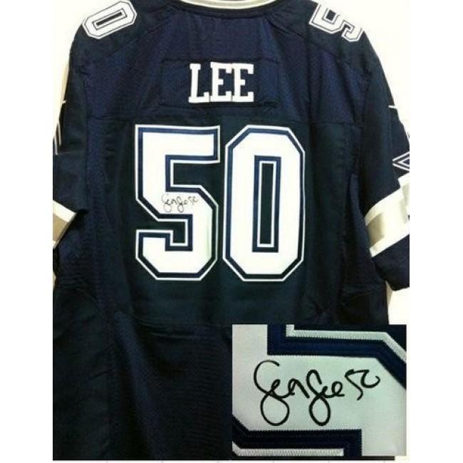 Nike Cowboys #50 Sean Lee Navy Blue Team Color Men's Stitched NFL Elite Autographed Jersey