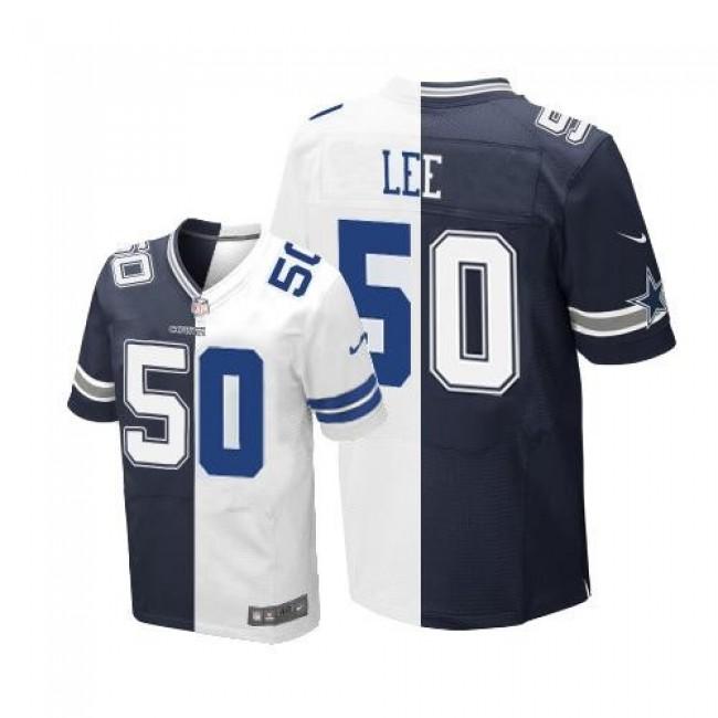 Nike Cowboys #50 Sean Lee Navy Blue/White Men's Stitched NFL Elite Split Jersey