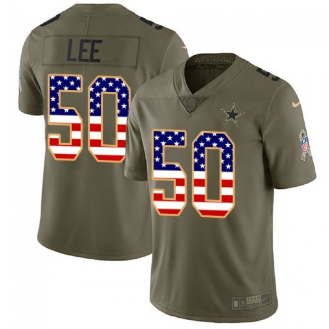 Dallas Cowboys #50 Sean Lee Olive-USA Flag Youth Stitched NFL Limited 2017 Salute to Service Jersey