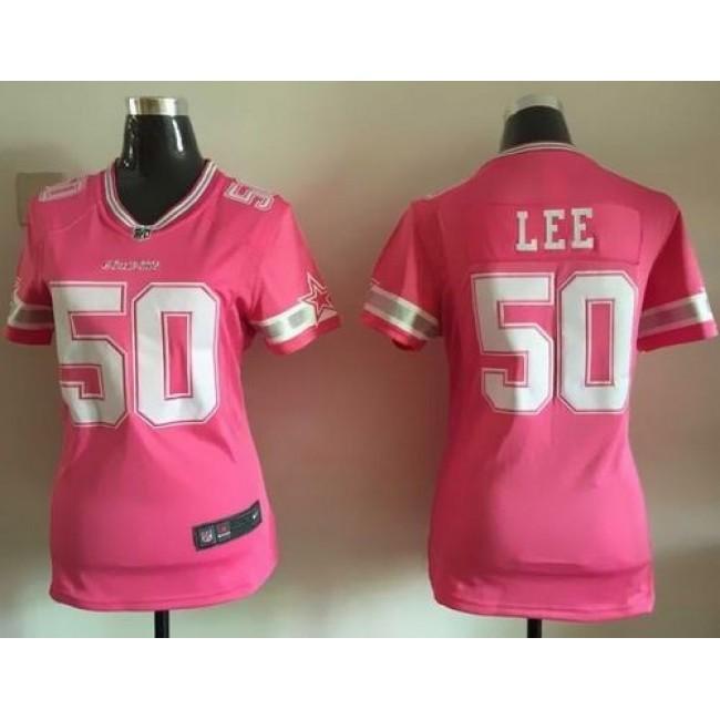 Women's Cowboys #50 Sean Lee Pink Stitched NFL Elite Bubble Gum Jersey