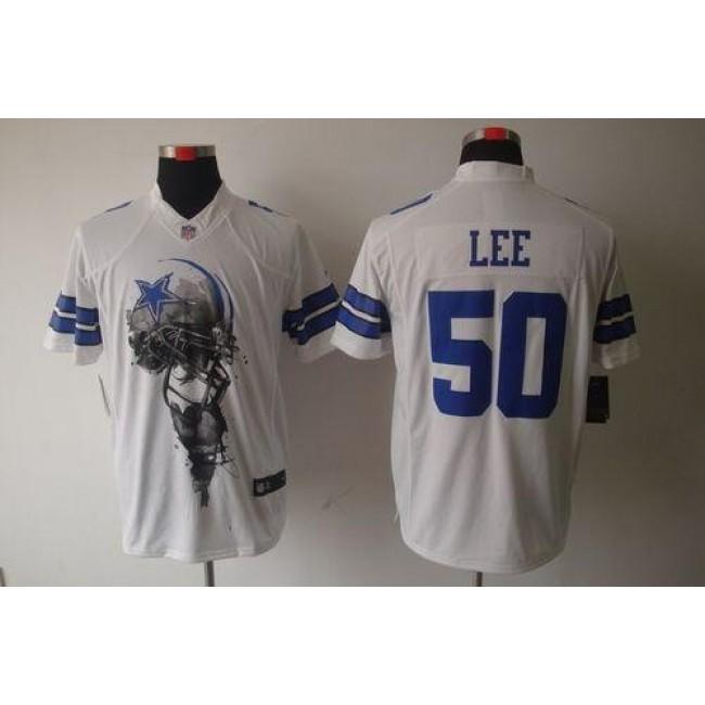 Nike Cowboys #50 Sean Lee White Men's Stitched NFL Helmet Tri-Blend Limited Jersey