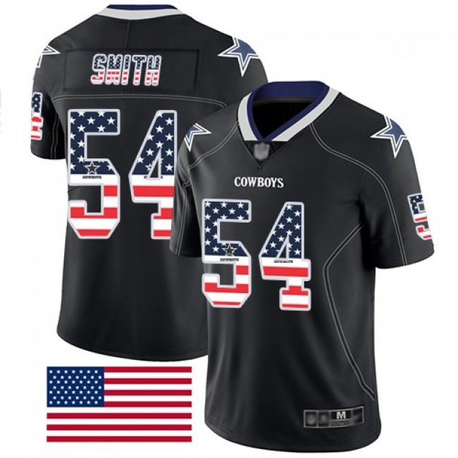 Nike Cowboys #54 Jaylon Smith Black Men's Stitched NFL Limited Rush USA Flag Jersey