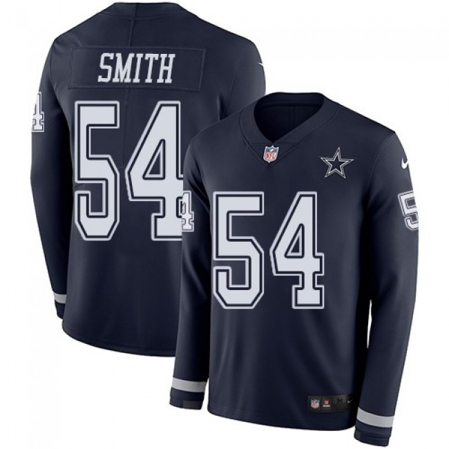 Nike Cowboys #54 Jaylon Smith Navy Blue Team Color Men's Stitched NFL Limited Therma Long Sleeve Jersey