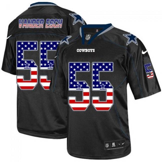 Nike Cowboys #55 Leighton Vander Esch Black Men's Stitched NFL Elite USA Flag Fashion Jersey