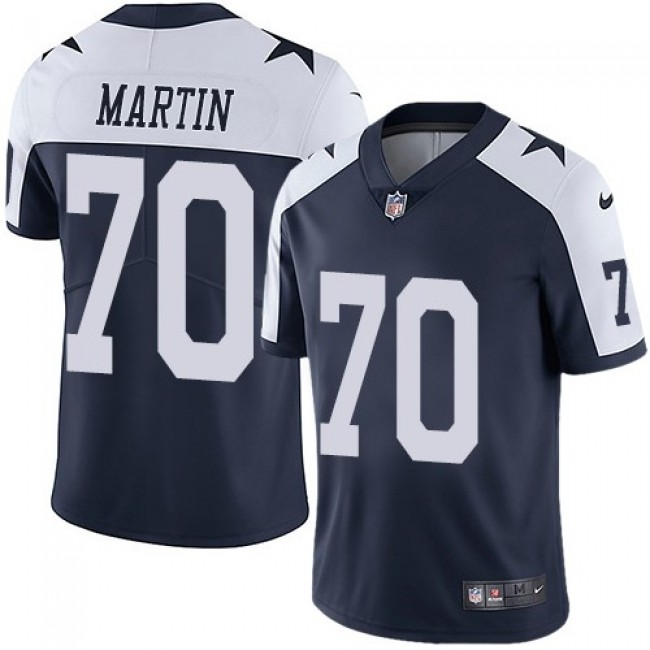 Nike Cowboys #70 Zack Martin Navy Blue Thanksgiving Men's Stitched NFL Vapor Untouchable Limited Throwback Jersey