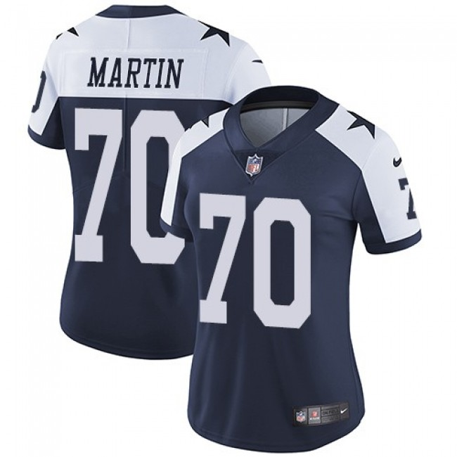 Women's Cowboys #70 Zack Martin Navy Blue Thanksgiving Stitched NFL Vapor Untouchable Limited Throwback Jersey