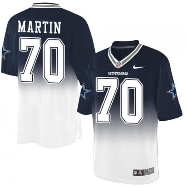 Nike Cowboys #70 Zack Martin Navy Blue/White Men's Stitched NFL Elite Fadeaway Fashion Jersey