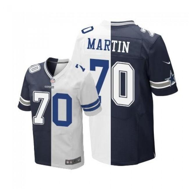 Nike Cowboys #70 Zack Martin Navy Blue/White Men's Stitched NFL Elite Split Jersey