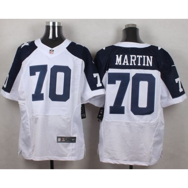 Nike Cowboys #70 Zack Martin White Thanksgiving Throwback Men's Stitched NFL Elite Jersey