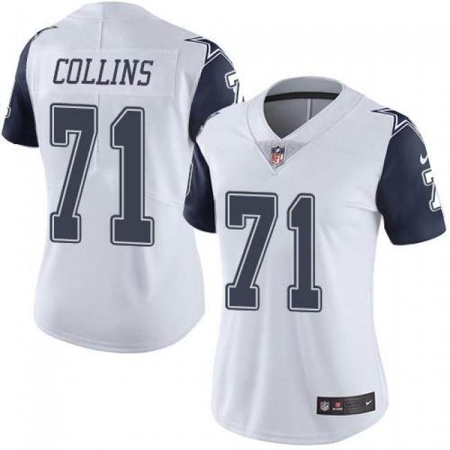 Women's Cowboys #71 La'el Collins White Stitched NFL Limited Rush Jersey