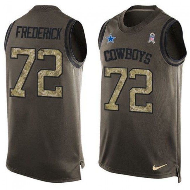 Nike Cowboys #72 Travis Frederick Green Men's Stitched NFL Limited Salute To Service Tank Top Jersey