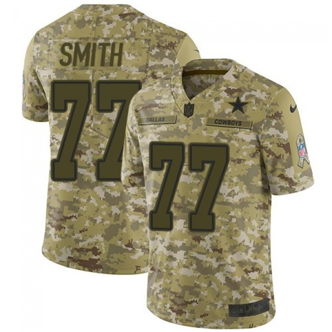 Nike Cowboys #77 Tyron Smith Camo Men's Stitched NFL Limited 2018 Salute To Service Jersey